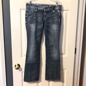 Guess Daredevil Boot Cut Distressed Low Rise Jeans